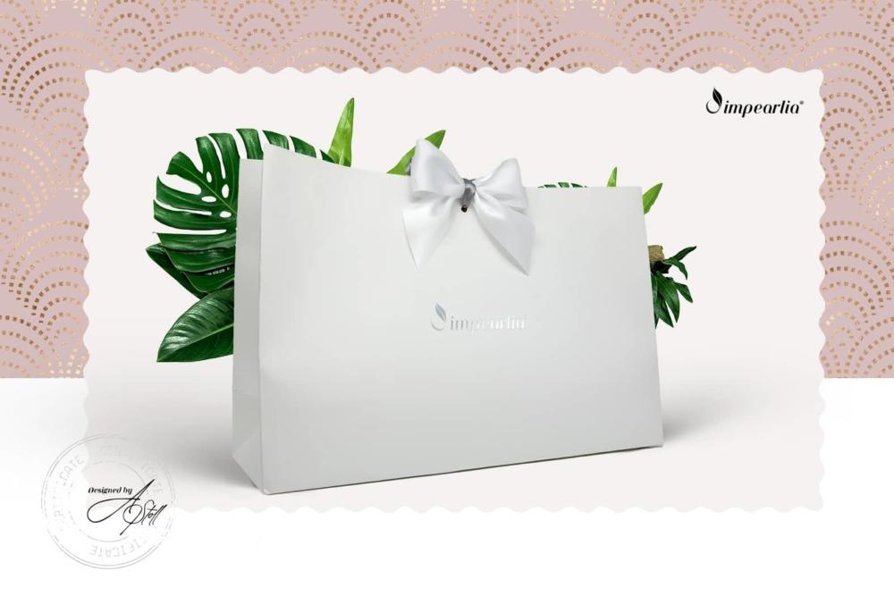 edle Impearlia Design Verpackung mit weißer Schleife